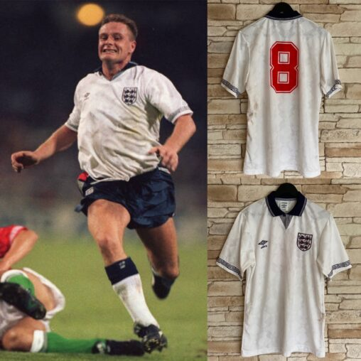 Paul Gascoigne Match Worn England Shirt 1990