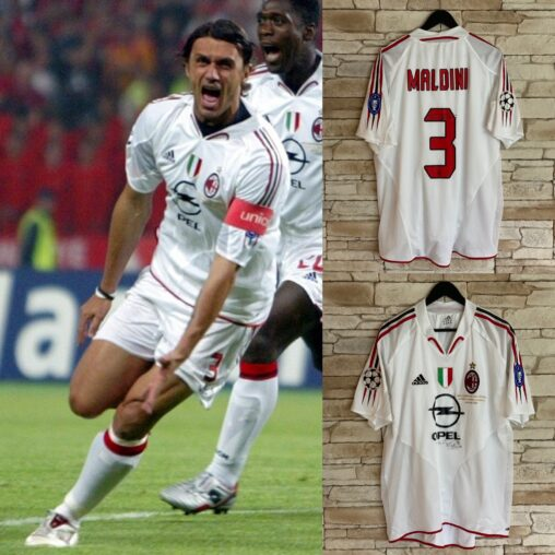 Paolo Maldini #3 Match Worn & Signed Shirt. Worn in the first half of the most famous and historic Champions League final ever played. AC Milan 3-3 Liverpool in Istanbul